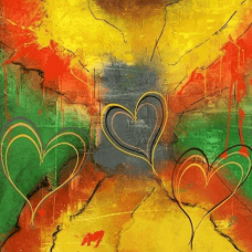 Three Hearts | Abstract Painting