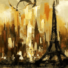 A Night in  Paris   Abstract Painting